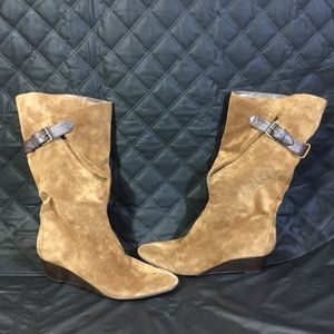 Nine West Tan Suede Calf-Length Wedge Boots Size 9